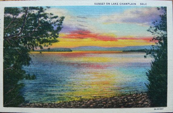 Vintage1930s Postcard Lake Champlain by jujubeezcloset on Etsy, $3.00