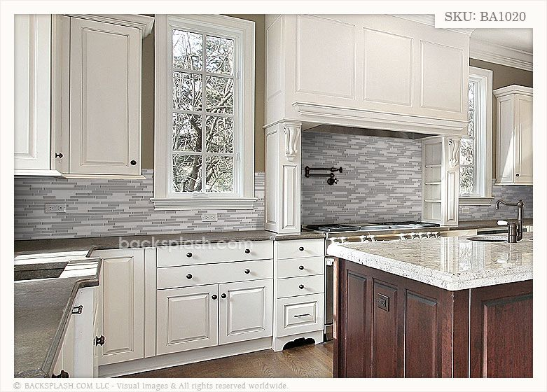 Light Beige Glass Beige Marble Mixed Backsplash Tile Grey