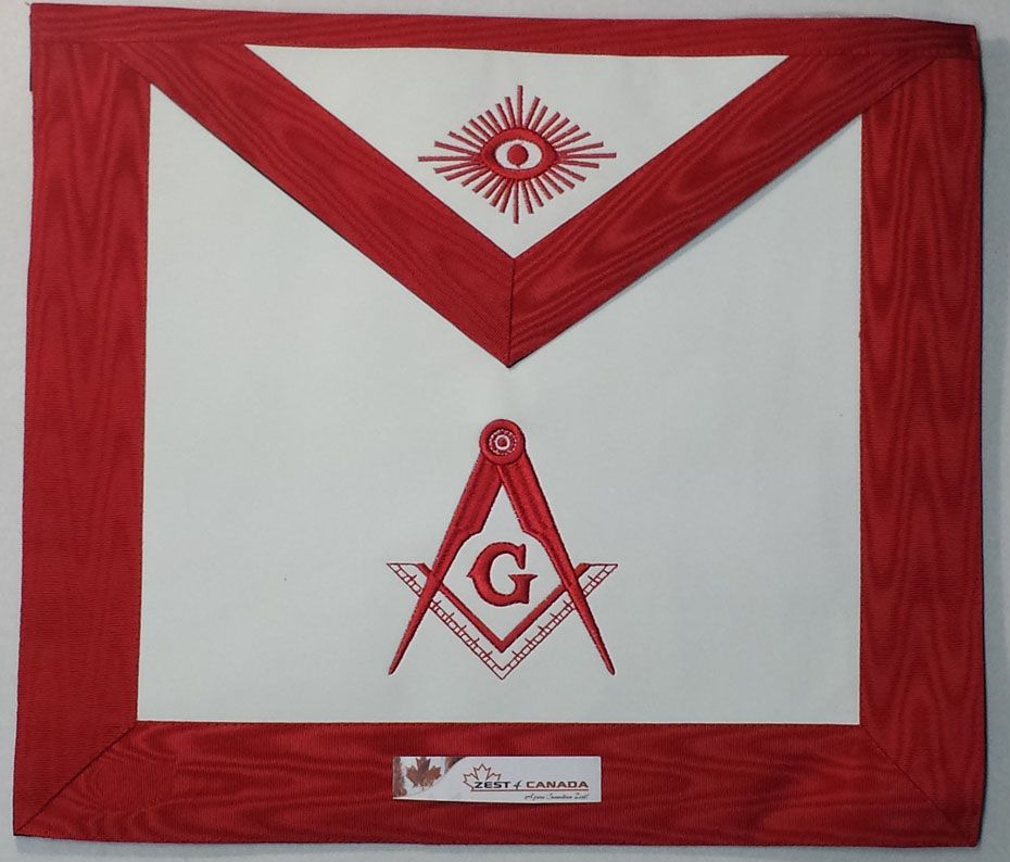 Red Lodge Masonic Master Mason Apron With G Square Compass