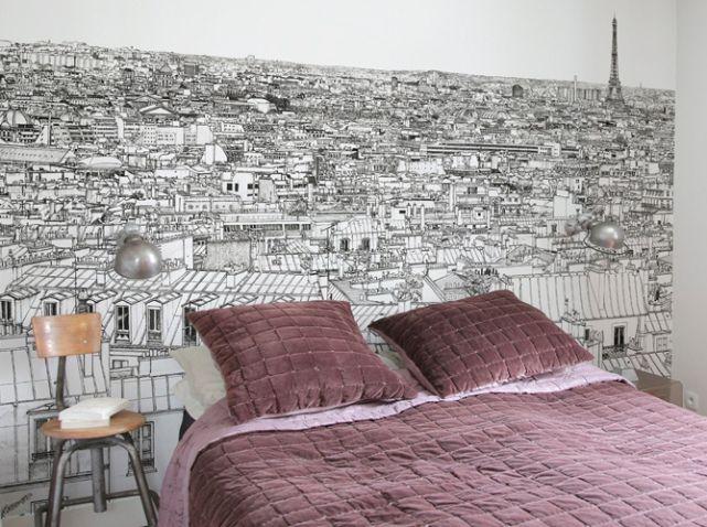 un papier peint noir et blanc pour un mur l gant future. Black Bedroom Furniture Sets. Home Design Ideas