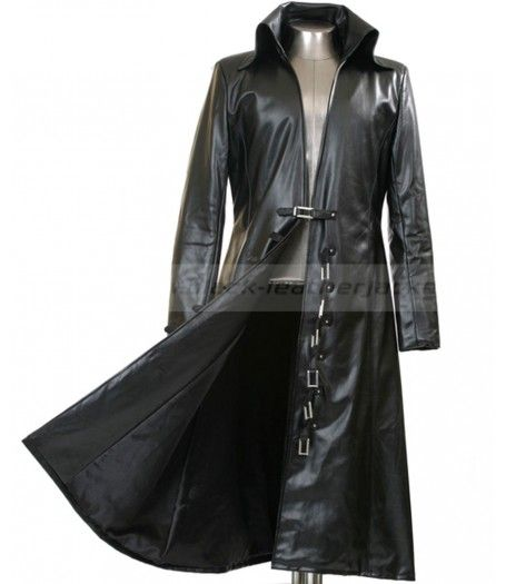 Mens Long Black Trench Coat | Black Leather Jacket for Men | Black ...