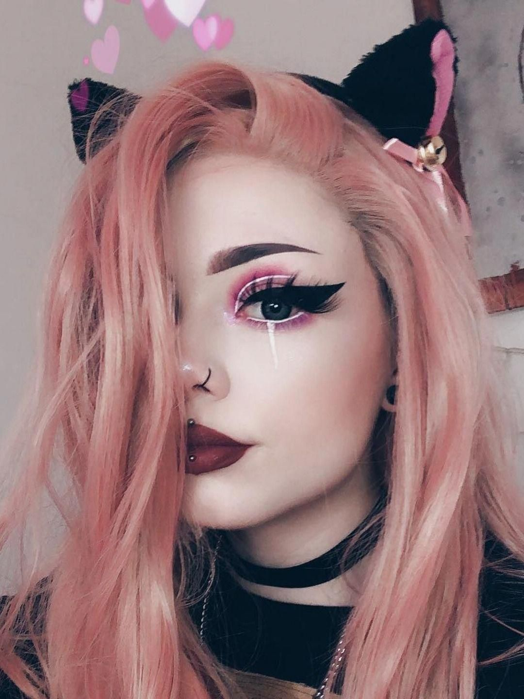 What A Pretty Cat Girl Candypink Coral Haircolor Hairstyles Makeup In 2020 Halloween Makeup Pretty Cool Halloween Makeup Cute Halloween Makeup