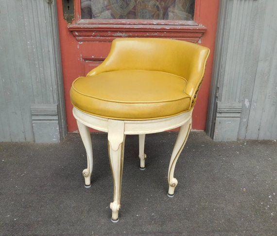 Brilliant 1950S Vintage Swiveling Vanity Stool French Provincial Ibusinesslaw Wood Chair Design Ideas Ibusinesslaworg