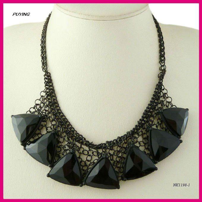 2013 Flower Black Tassel Choker Necklace