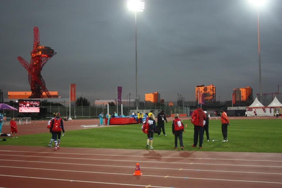 This is the sun set from the warm up track behind the olympic stadium