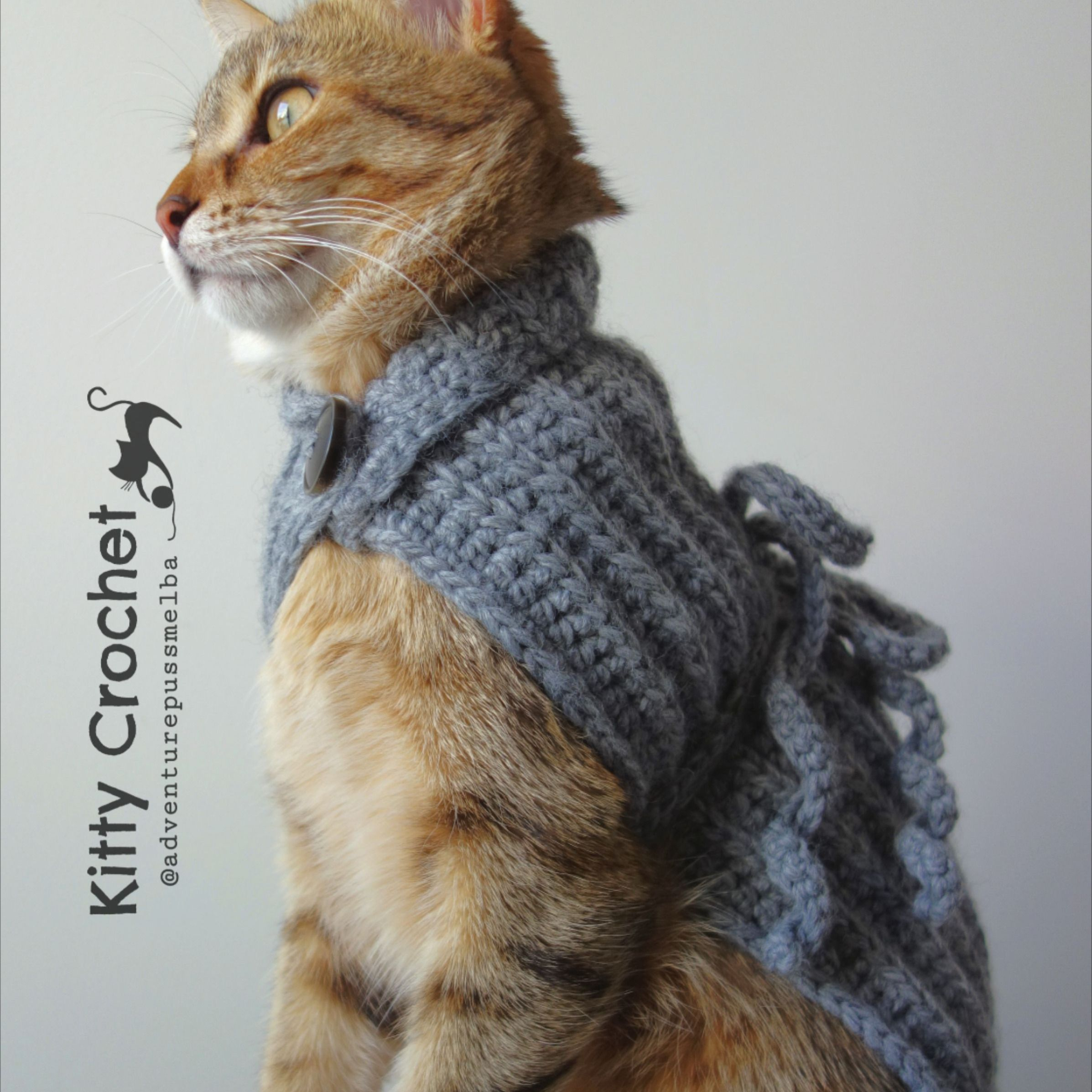 Cat Cape Ribbed Crochet Stitch Button Up Roll Neck Chest Ties Colour Pewter Grey Soft Acrylic Wool 14 Colours Available In 2020 Ribbed Crochet Pewter Grey Crochet Stitches