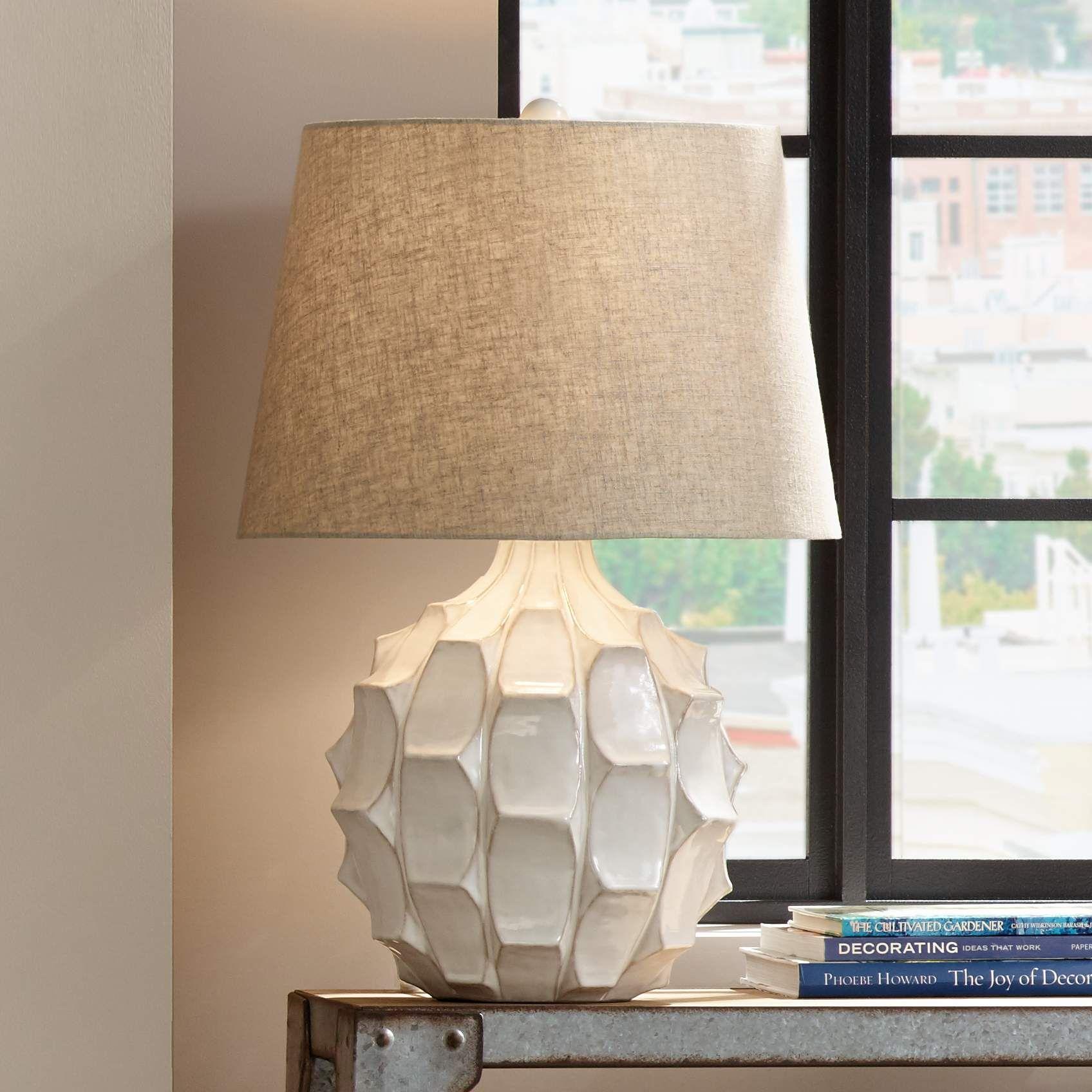 Cosgrove Round White Ceramic Table Lamp 2h898 Lamps Plus