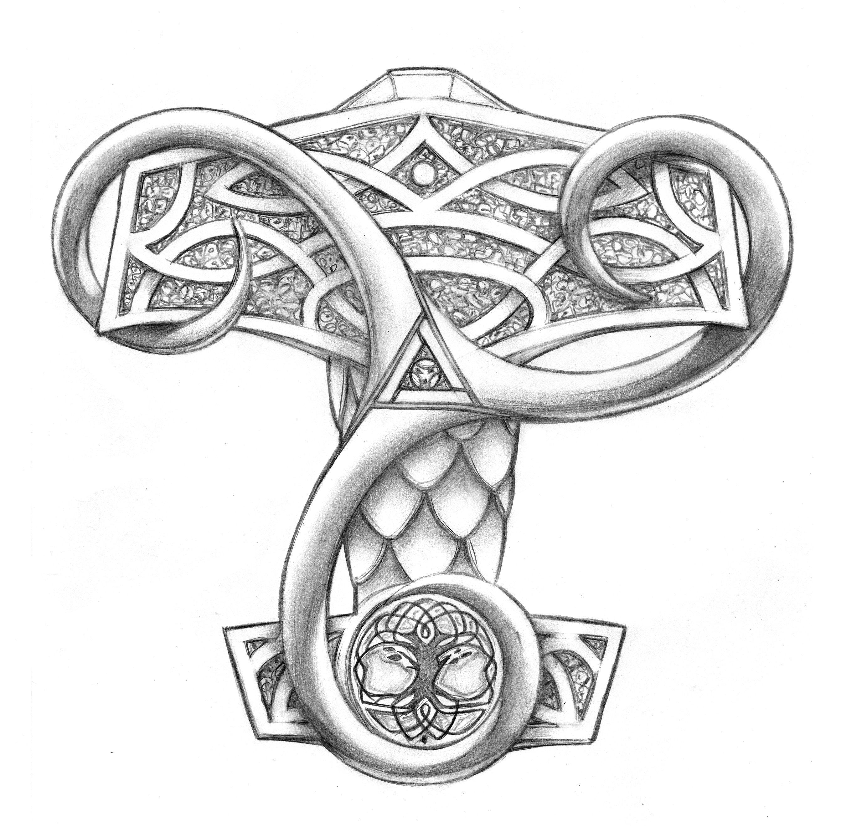 mjölner + triskel | tattoo design | Tatuajes forestales | Pinterest ...