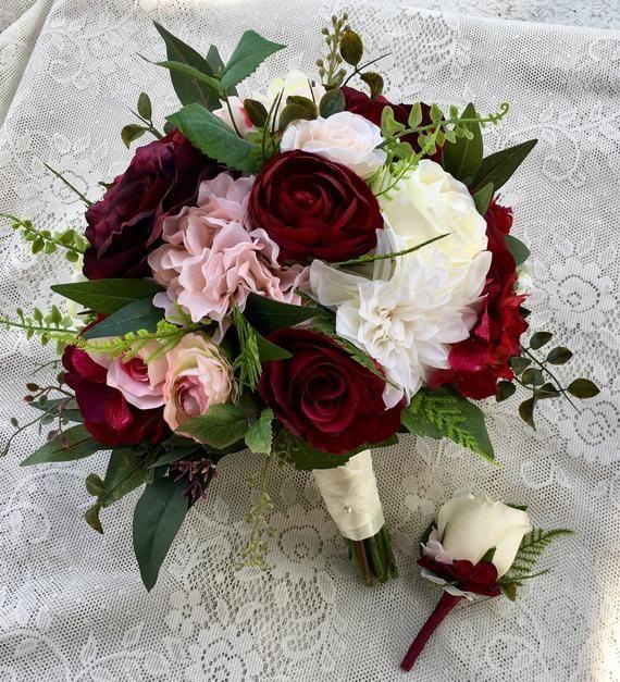 Hochzeitsstrauß, Burgund erröten Brautstrauß, Seide Hochzeitsblumen, Burgunder Blumenstrauß, Hochzeit Zubehör, erröten Hochzeitsblumen, Burgund Blumenstrauß