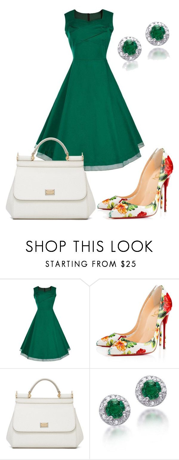 """💚🌿💚"" by queen-naznaz ❤ liked on Polyvore featuring Christian Louboutin and Dolce&Gabbana"