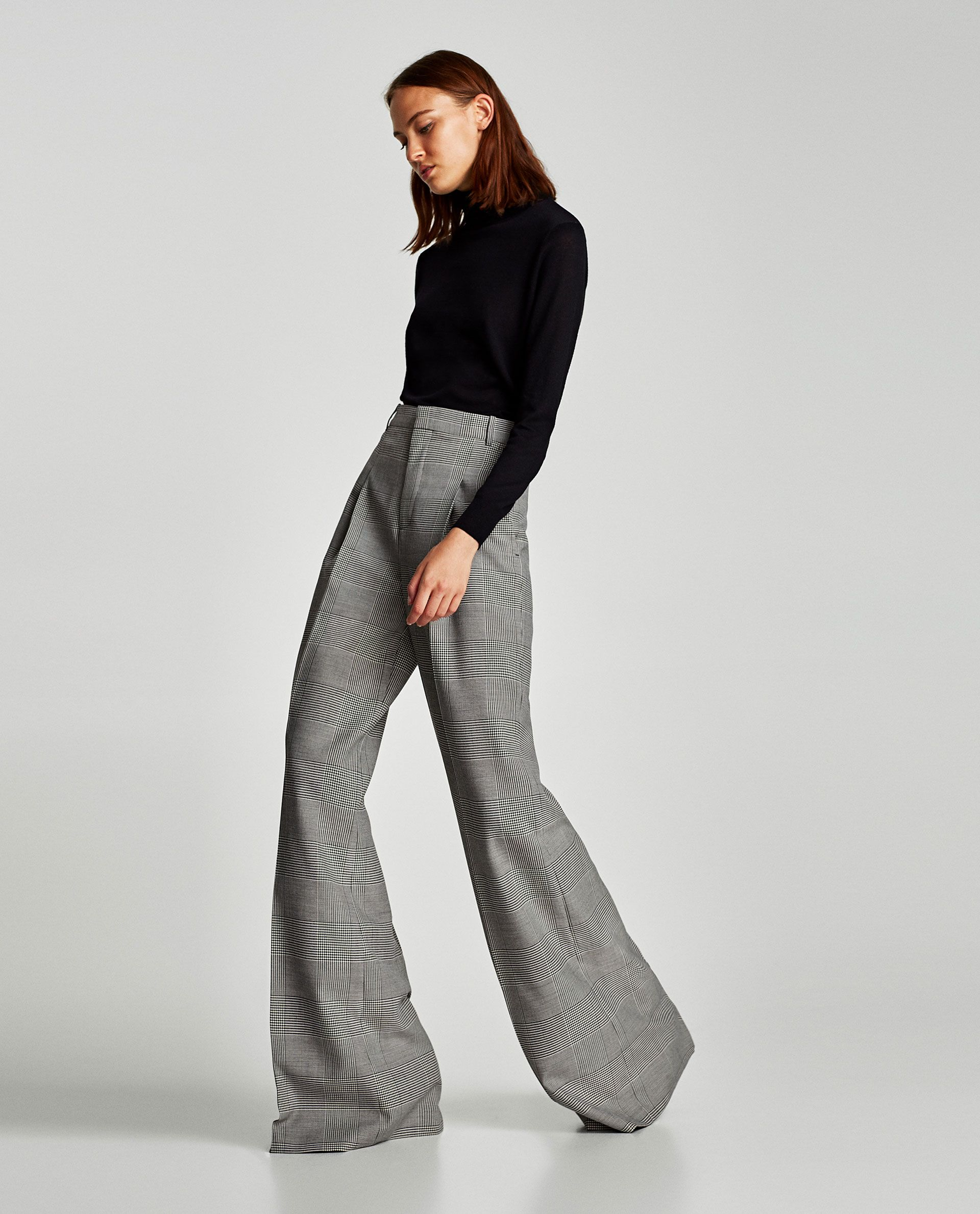66926f84 Image 8 of CHECKED WIDE-LEG TROUSERS from Zara | Fashion | Fashion ...
