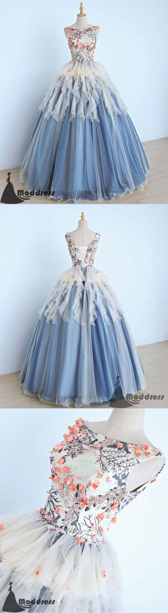 Unique long prom dress scoop evening dress applique ball gowns