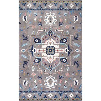 Darby Home Co Minooka Hand-Tufted Gray Area Rug Rug Size: 5' x 8'