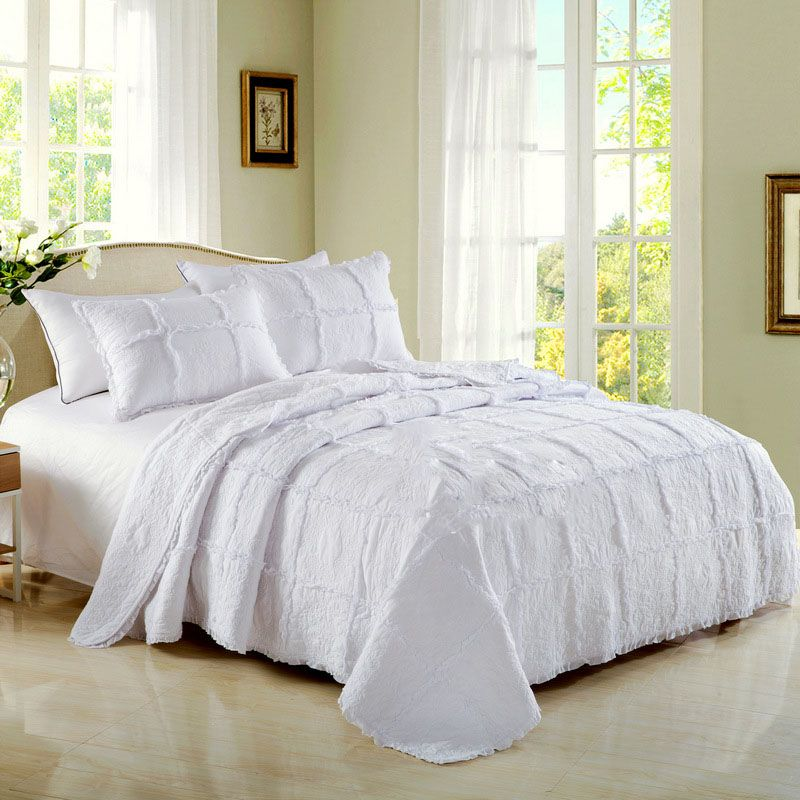 Great White Cotton Quilt Luxury Hotel Bedding Quilts Patchwork Bedspread  Embroidery Bed Cover 3PCS King Queen Size