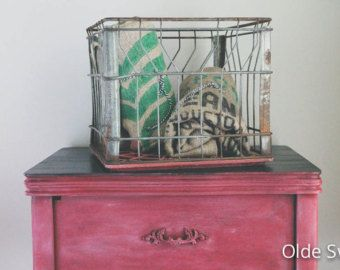 Vintage Milk Crate with Red Bottom | Metal Crate | Rustic ...