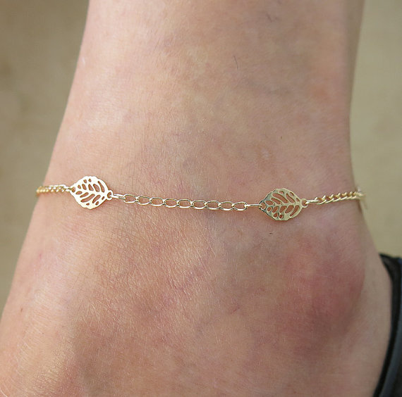 gold flower bracelet adjustable il products sterling ankle beaded leg plate fullxfull over new silver anklet lotus