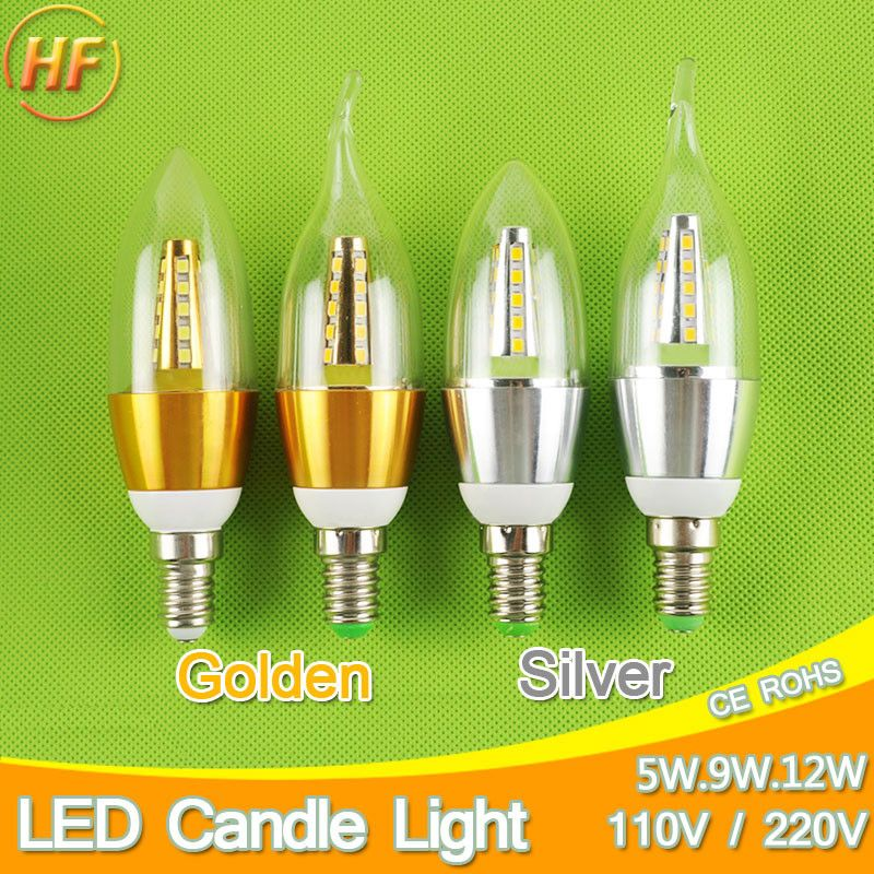 Golden Silver 5w 9w 12w E14 Led Candle Light Aluminum Shell Led Bulb 110v 220v Led Lamp E14 Cool Warm White Lam Led Candle Lights Led Candles Light Bulb Candle