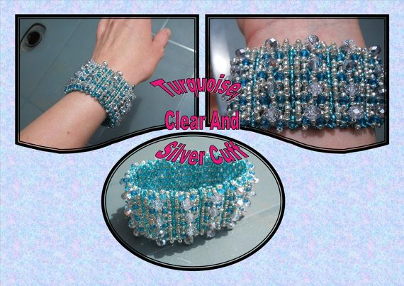 SALE Turquoise Silver and Crystal Exotic Cuff by BeadBoutiquebyLou, £12.00