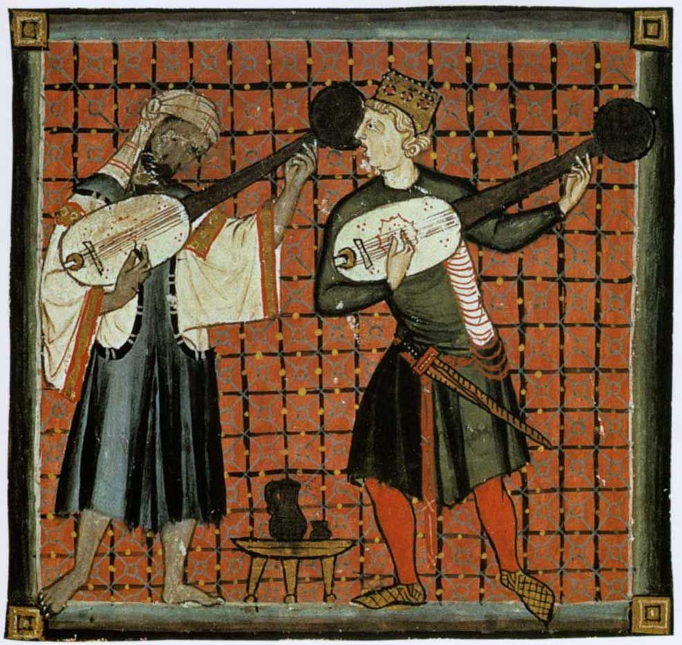 A Muslim plays the ud while the Christian plays the lute. From a Book of Chants from San Lorenzo de El Escorial monastery in Madrid, Spain. 13th century. Published in The Cambridge Illustrated History of the Islamic World edited by Francis Robinson. 1996.