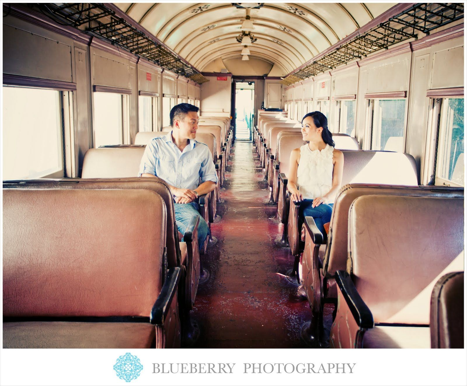 East Bay vintage rustic train car engagement photography session
