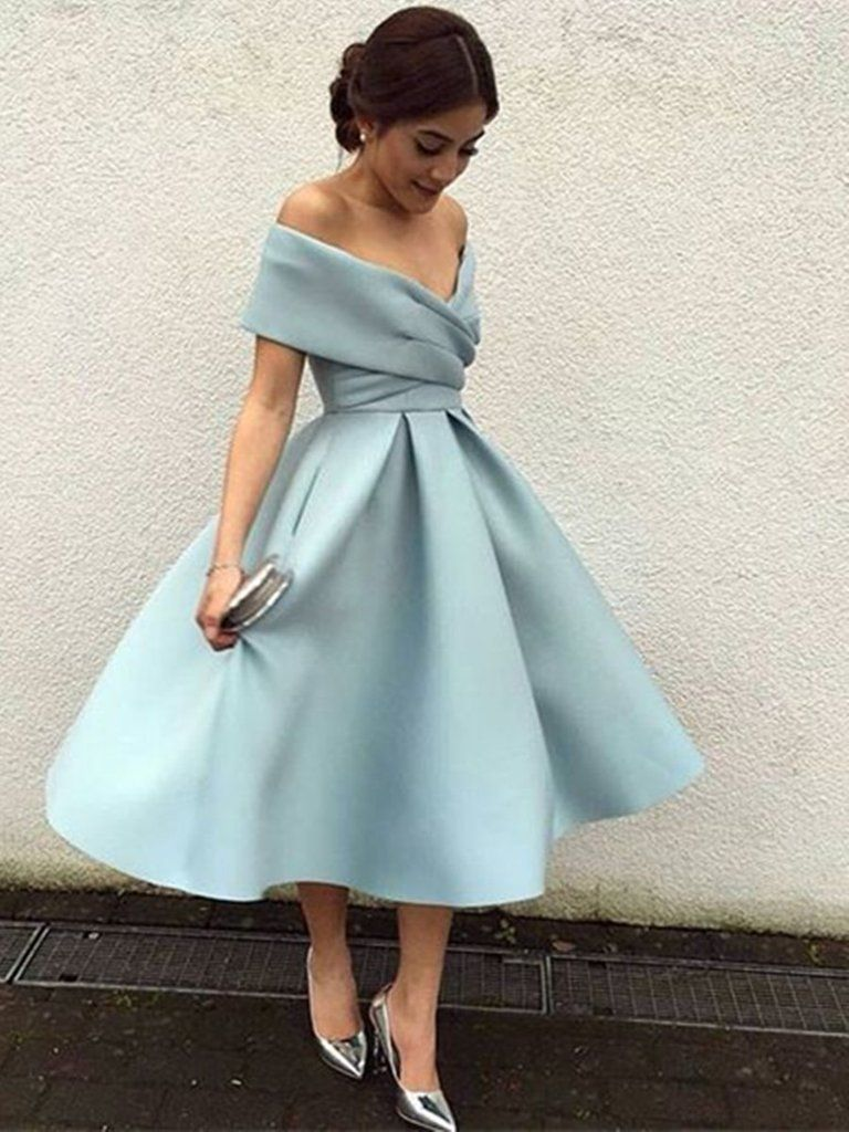 ee1e78d390e Off Shoulder Short Blue Prom Dress