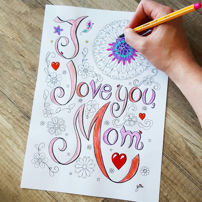 Malbild zum Ausdrucken - Love Mom - Liebe, zum Ausmalen, romantisch ...