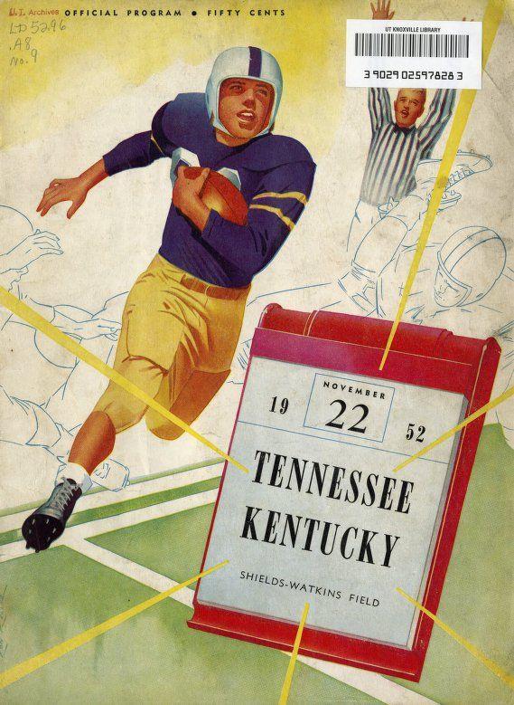 1952 - Tennessee vs. Kentucky Football Program  November ...