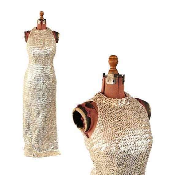 96357ebe86 Vintage 1960 s Iridescent + Gold Metallic Sequin Bombshell Hourglass ...