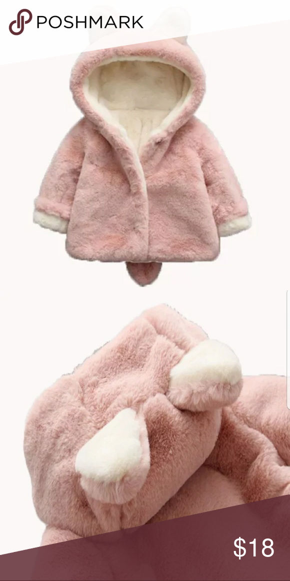 b02f168a0 Baby Girl Faux Fur Coat With Ears 12 months Super cute like new coat for a