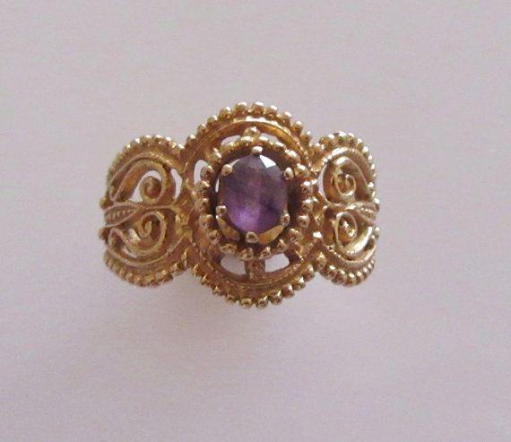 9ct Gold Amethyst Ring UK Size O USA 7