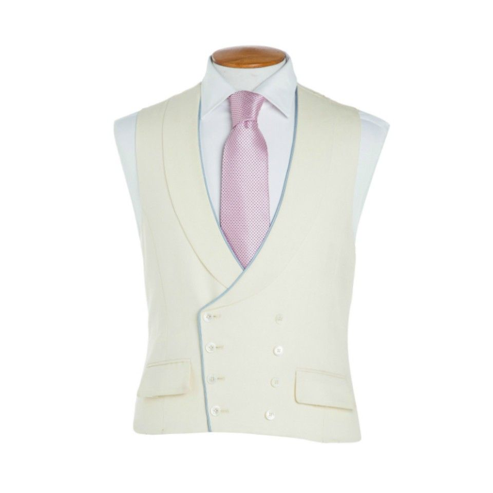 Oliver Brown Waistcoat in Cream with Blue Piping  1054593e1