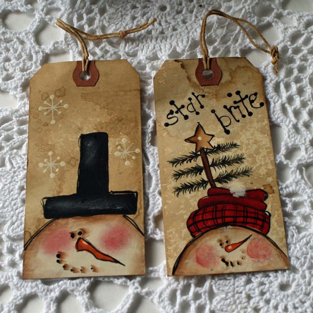 Primitive christmas ornaments - Hand Painted Snowman Tags Primitive Hangtags Ornament Or Gift Tag Set Of 6 36 00
