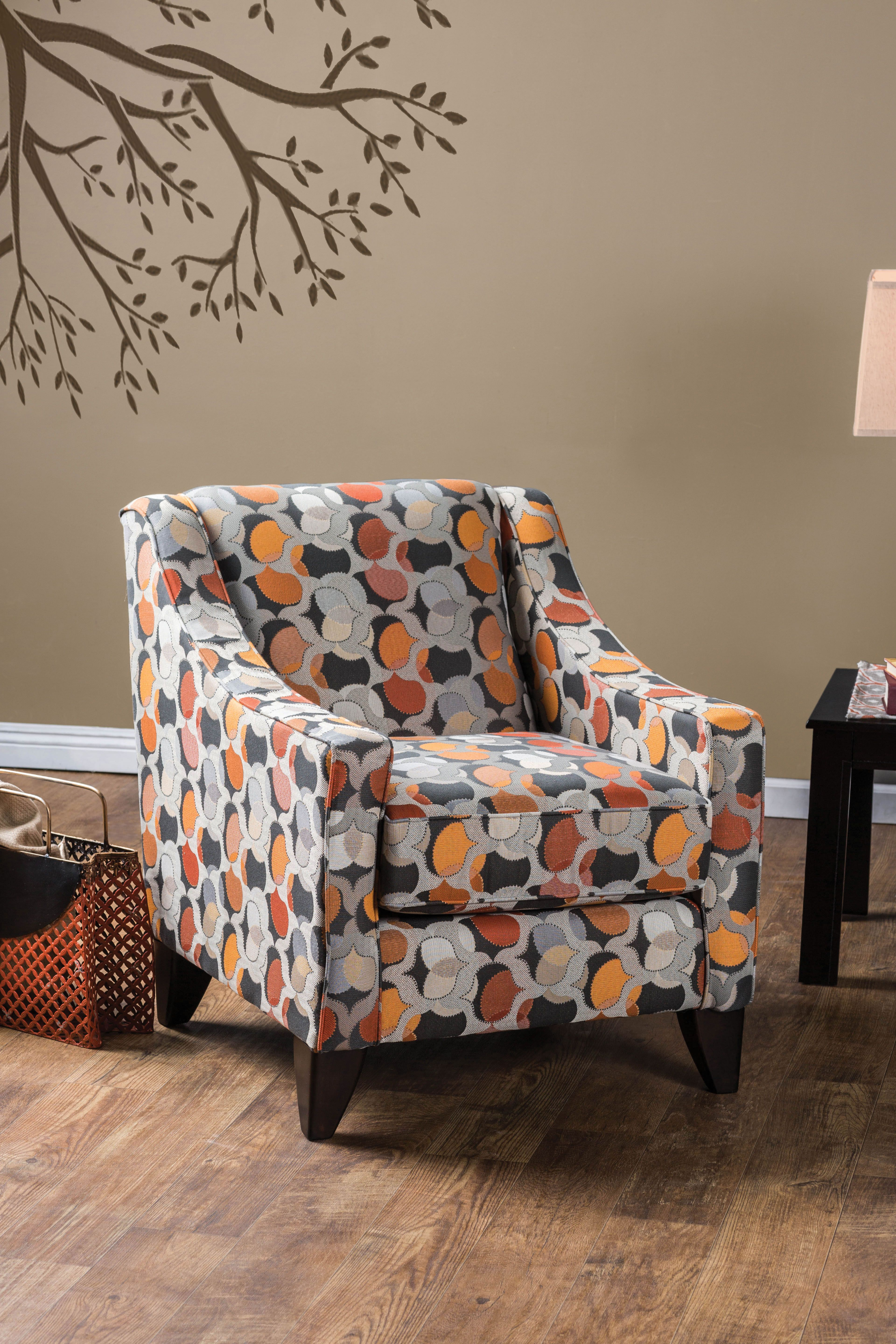 Beautiful Furniture Of America Parteena Premium Geometric Fabric Chair, Multi