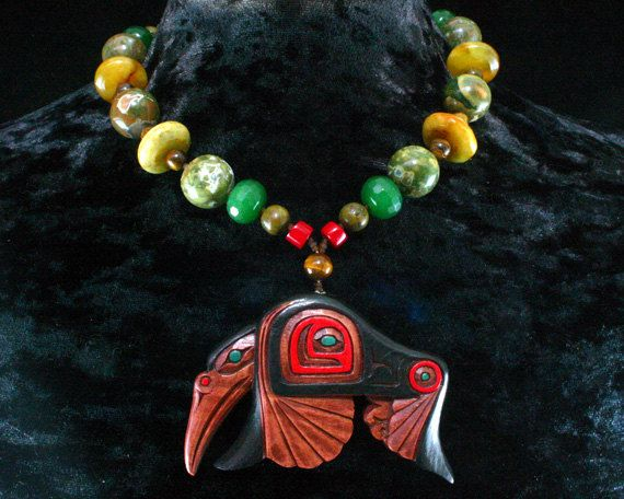 Shaman Necklace Hummingbird Pendant Salish Native American