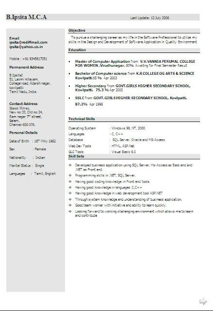 best biodata format free download Sample Template Excellent - resume format for mca