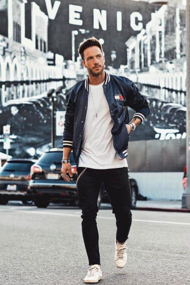 e3218ffc Daniel Fox wearing Tommy Hilfiger Satin Bomber Jacket, Zara Skinny Jeans,  Saint Laurent Court Classic Sneakers