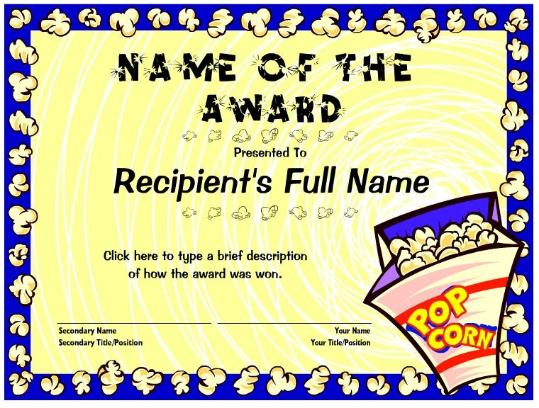 Free editable certificate with popcorn theme | Cub and Boy ...