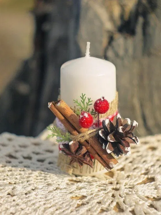 Red Taper Pillar Candle Ring Ornament Decor for Holidays Thanksgiving Christmas