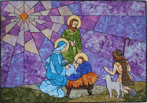 O Holy Night A Nativity Quilt Impressionist Stained