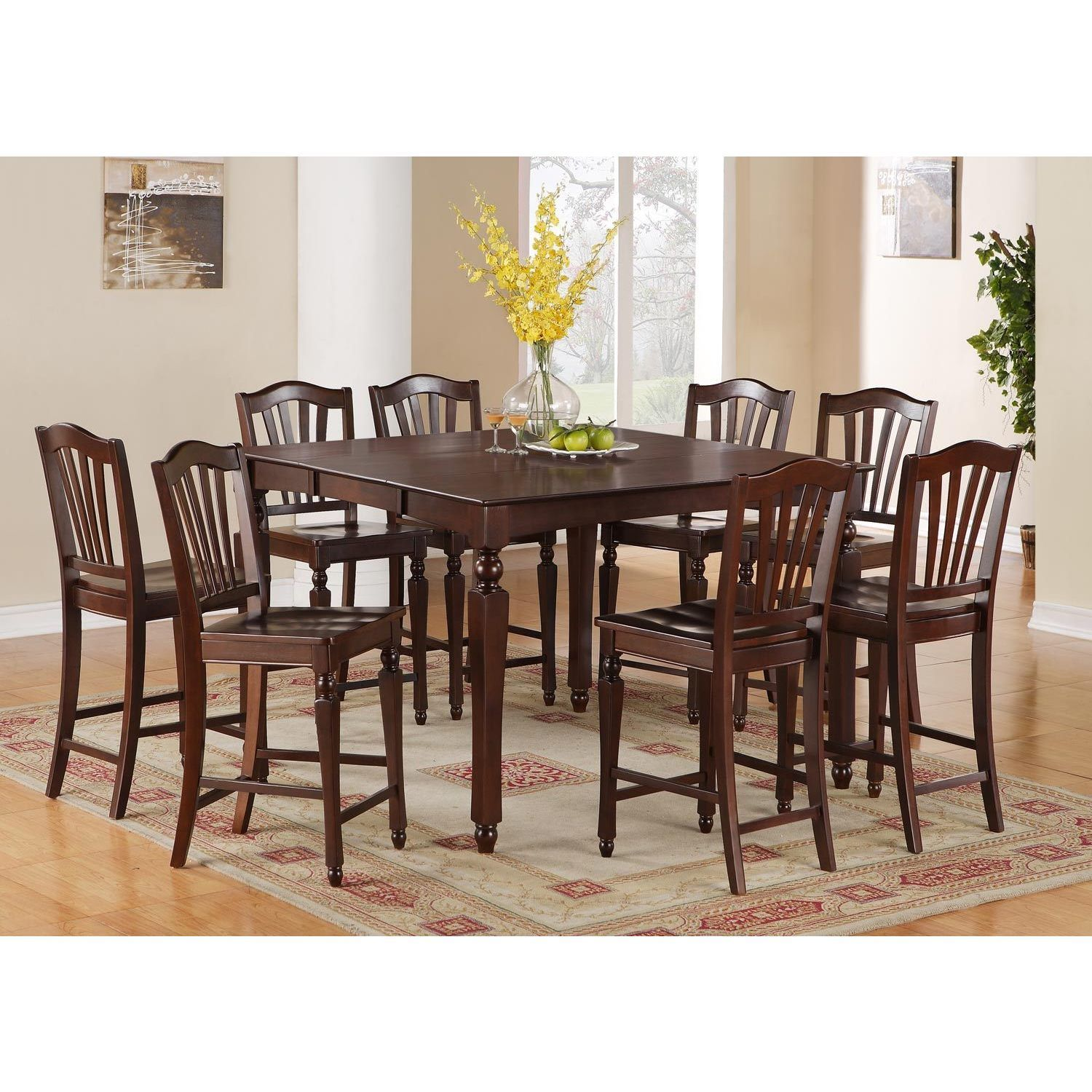 CHEL7 MAH 7 Piece Pub Height Table Set (Wood Seat),