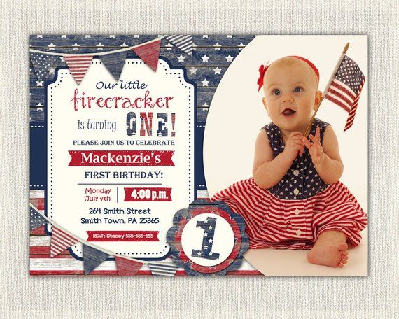 4th July First Birthday Invitation Gender Neutral Girl Boy Invite Fourth Of Patriot Red White A