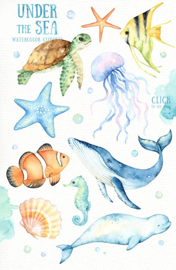 Unter dem Meer Aquarell Clipart, Kinderzimmer-Drucke, nautische Clipart, Kindergarten Kunst, Kinderzimmer Printables, sofortiger Download, Meerestiere, Kunst für Kinder #graphicprints