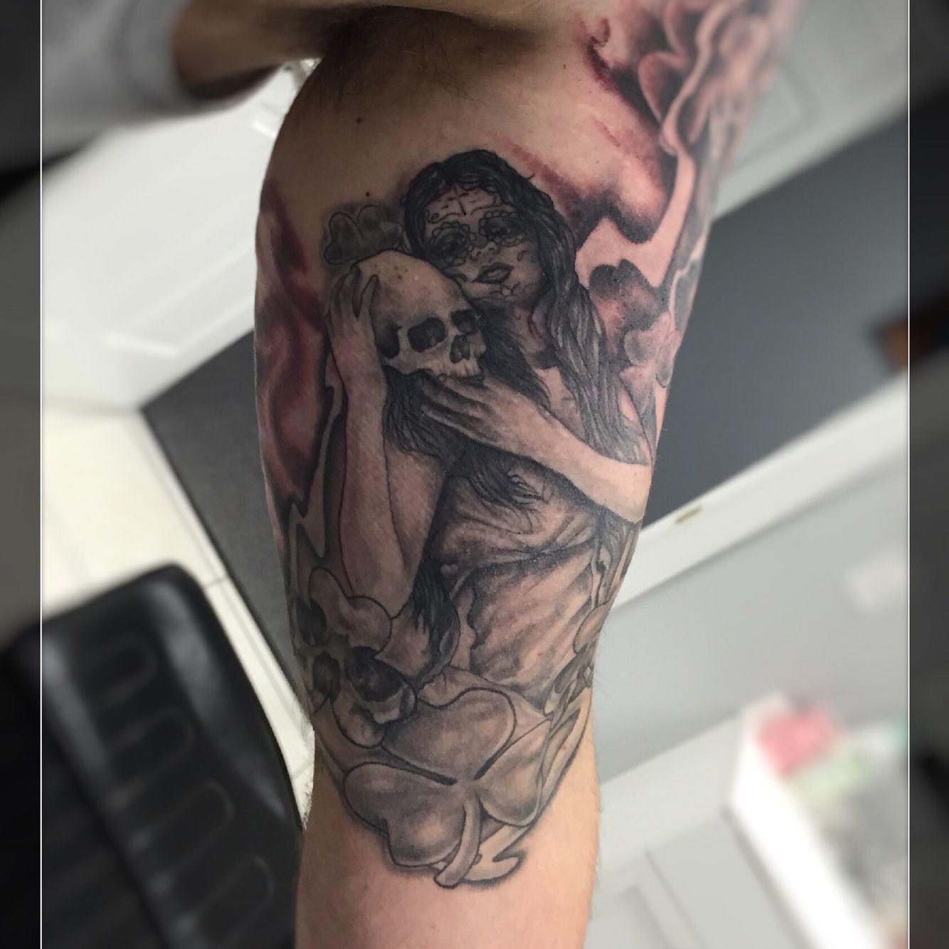 Black and grey irish theme tattoo tattoos tattoos