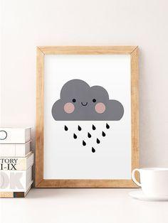 Cute cloud print, Nursery print, Nursery wall art, Cute art, Kids room art, Art for kids, Home decor, Cute, Little cloud, Minimalist nursery