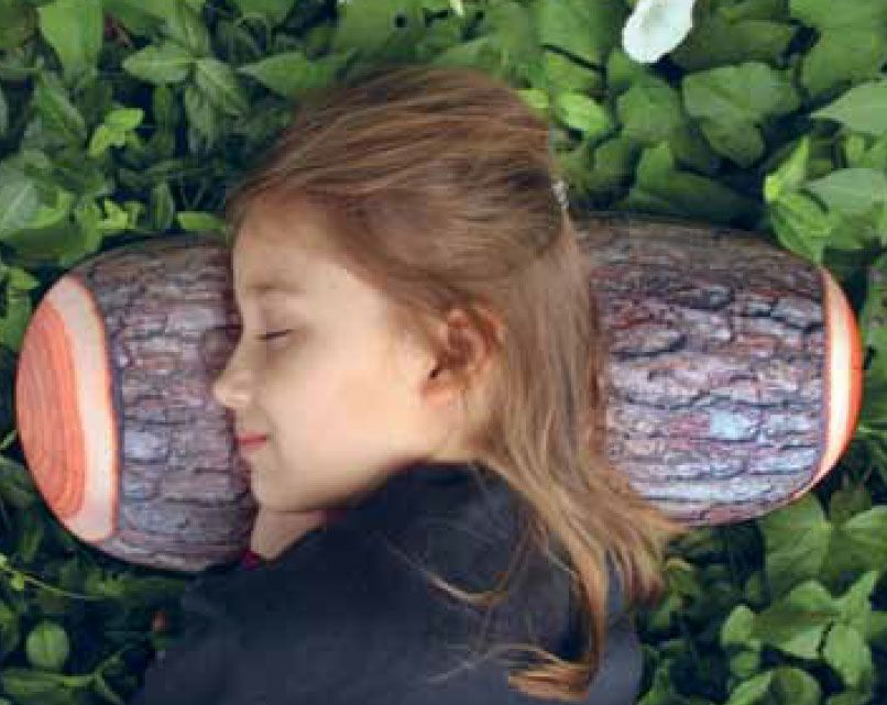 cuscino appoggiatesta tronco d'albero