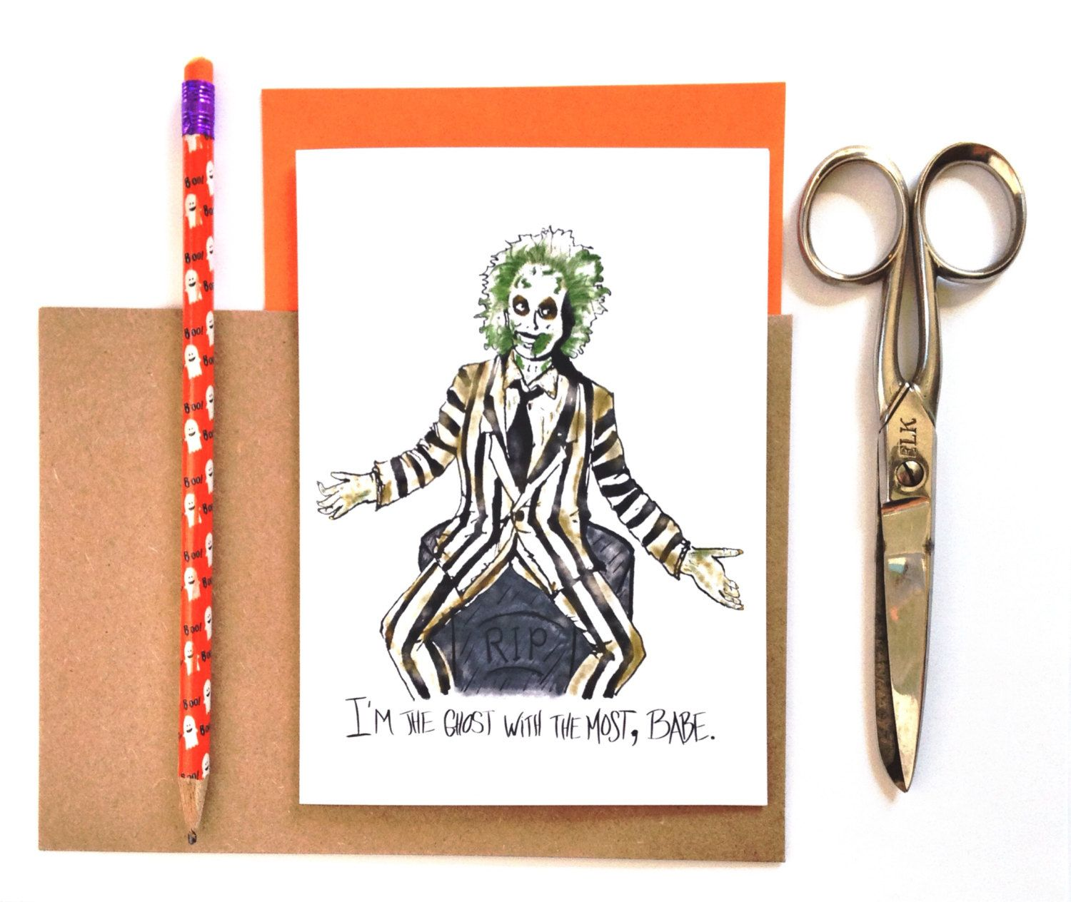 Funny Halloween Card Beetlejuice Card Im The Ghost Wi