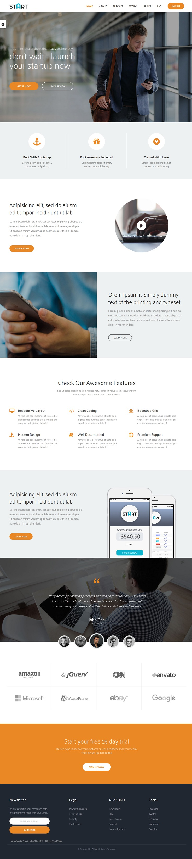 Start plete landing page bootstrap template for corporate or