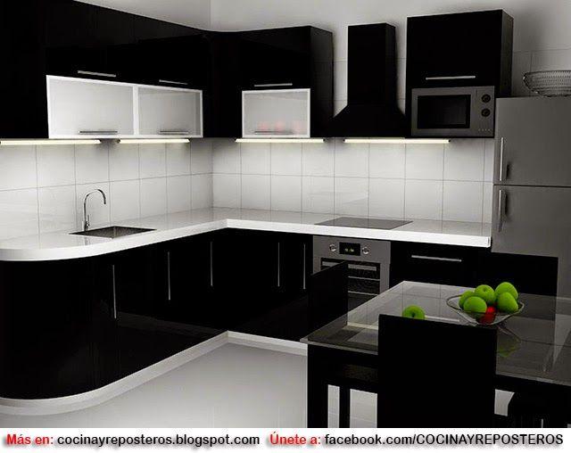 Decorar cocinas en color negro rem cocina 3 pinterest color negra negro y color - Cocina negra y rosa ...