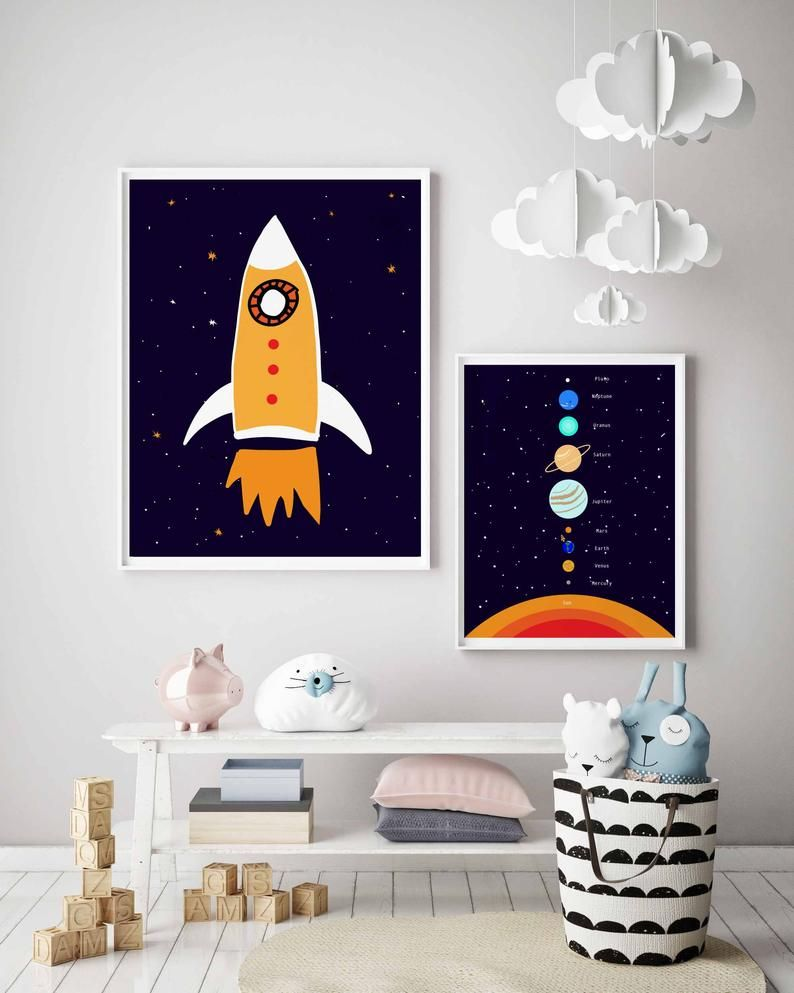 Rocket Ship Nursery Print For Toddler Boy Room Decor Space Etsy In 2021 Toddler Boy Room Decor Space Themed Bedroom Toddler Boys Room