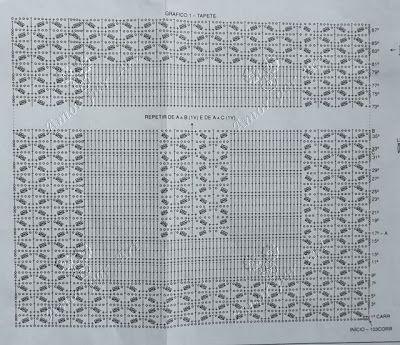 Tapete de Crochê em Barbante Retangular com Gráfico.